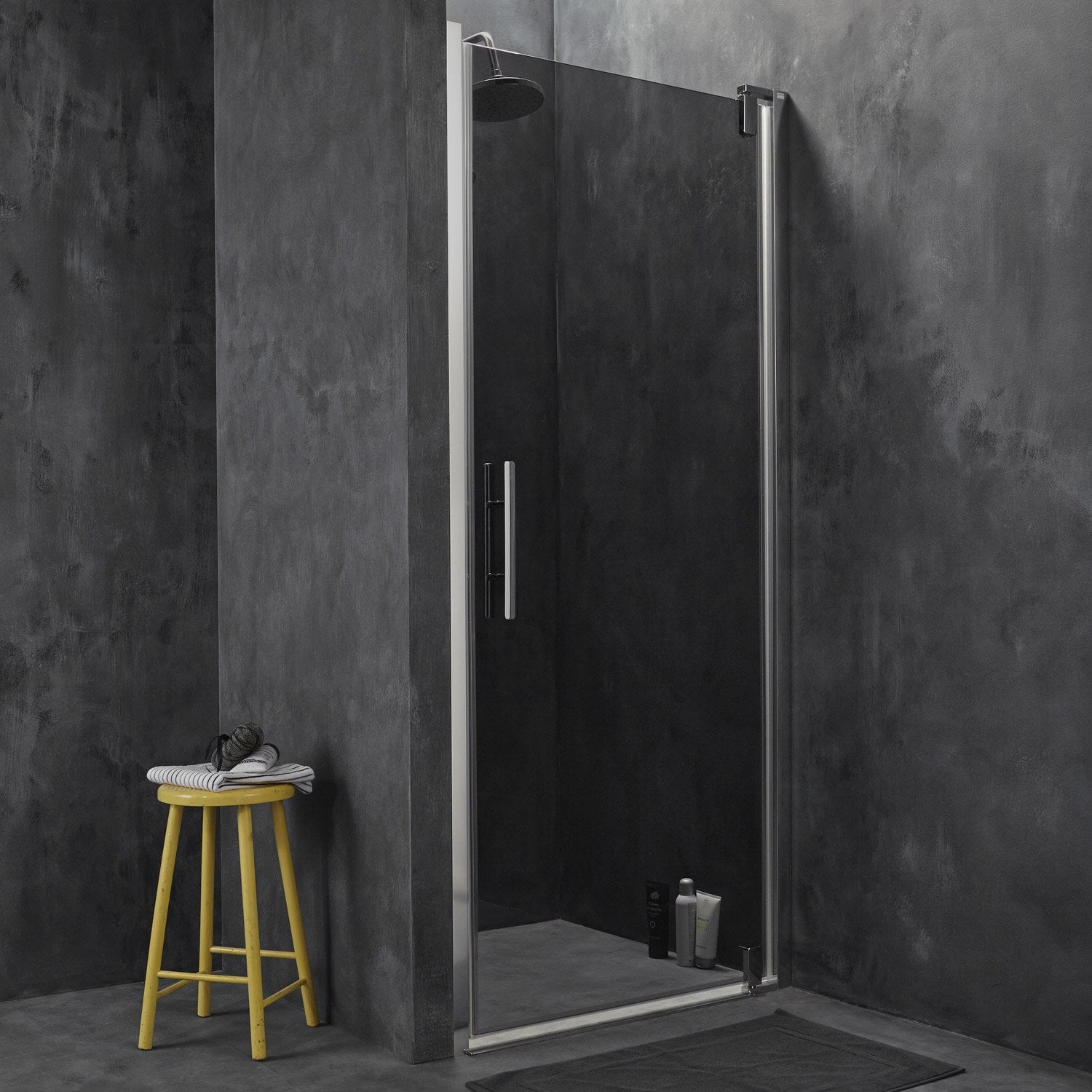porte de douche pivotante breuer adena verre de s curit fum leroy merlin. Black Bedroom Furniture Sets. Home Design Ideas