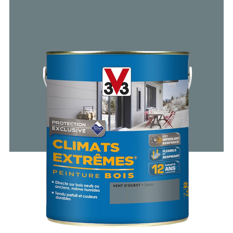 Peinture bois ext rieur climats extr mes v33 satin bleu vent d 39 ouest 2 5 l leroy merlin for Peinture terrasse bois