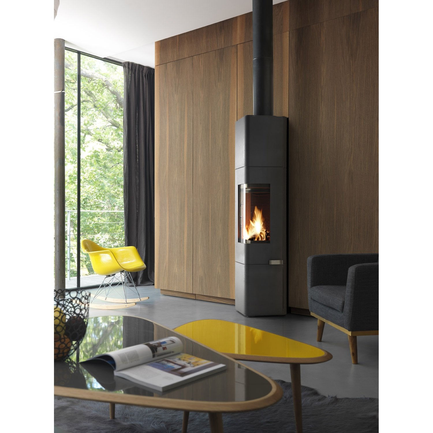 Po le bois invicta mana anthracite 6143 44 8 kw leroy for Poele a bois rectangulaire invicta