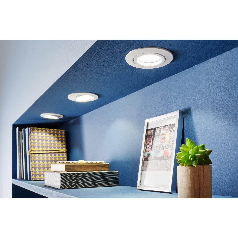 kit 3 spots encastrer tedo orientable led eglo gu10 blanc leroy merlin. Black Bedroom Furniture Sets. Home Design Ideas