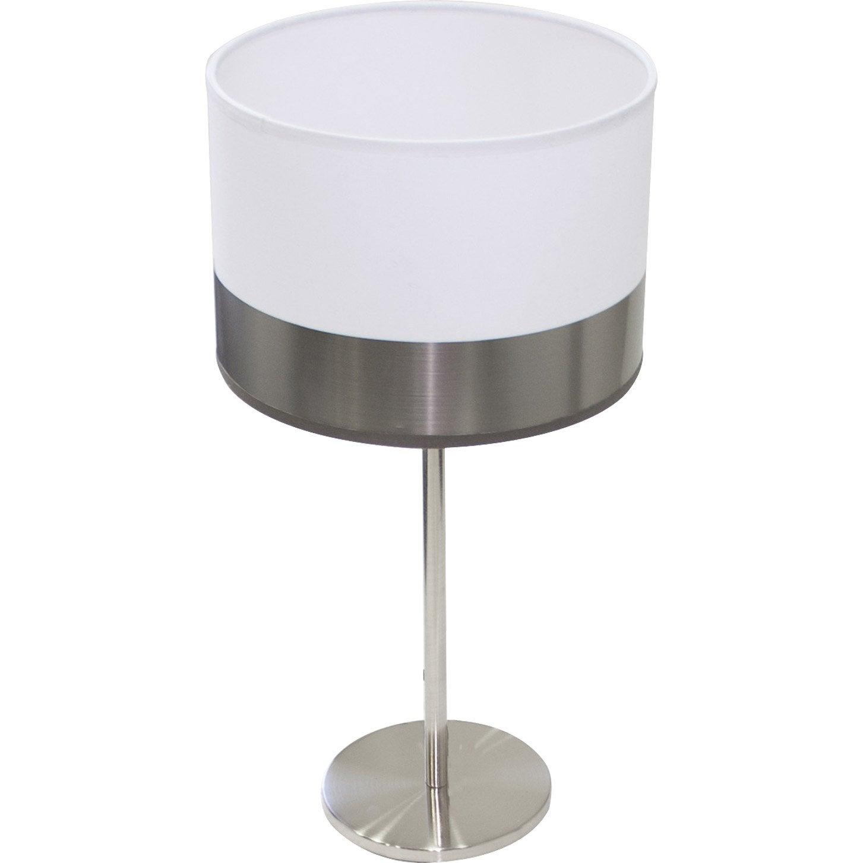 Lampe silver metropolight coton sur pvc blanc acier 60w - Lampe baladeuse leroy merlin ...