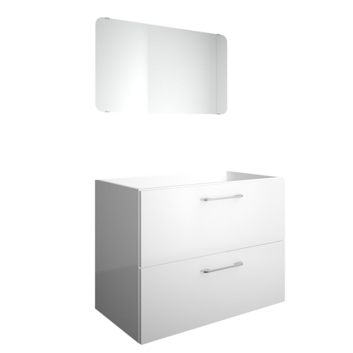 Meuble sous vasque 2 tiroirs 80 cm happy blanc blanc n 0 for Meuble sous vasque leroy merlin