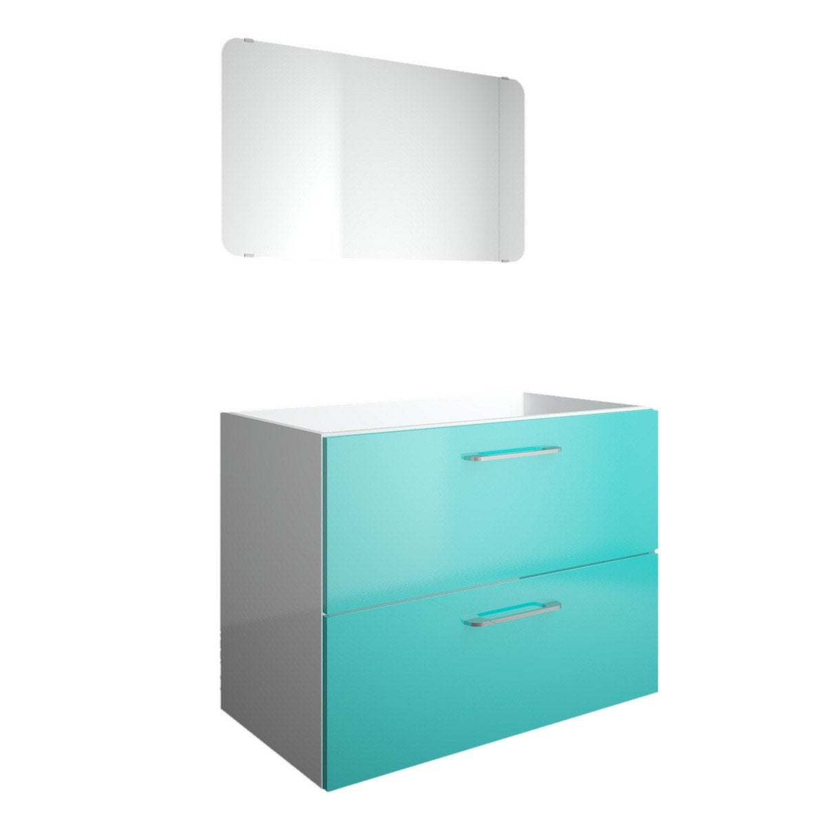 Meuble sous vasque x x cm bleu happy for Meuble vasque 70 cm leroy merlin