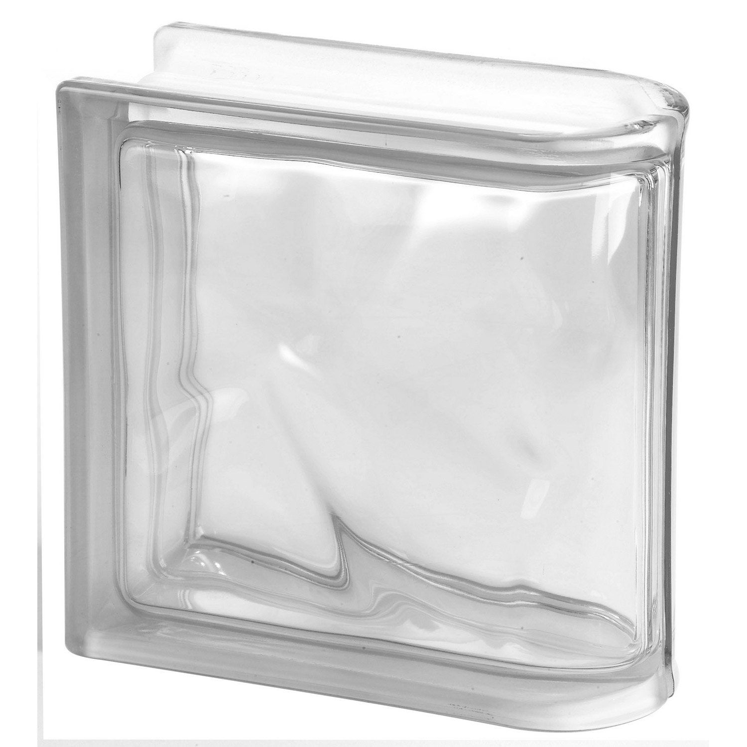 Brique de verre transparent ondul brillant leroy merlin for Pose de brique de verre