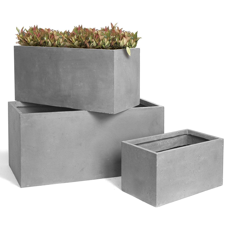 Jardini re fibre cm x cm x cm gris for Jardiniere exterieur