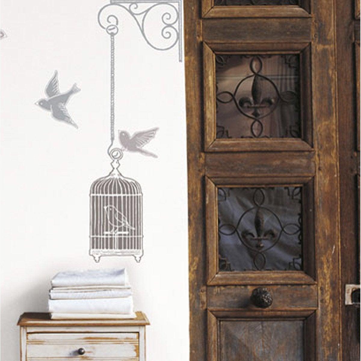 Sticker cages blanches et oiseaux 49 cm x 69 cm leroy merlin - Stickers escalier leroy merlin ...