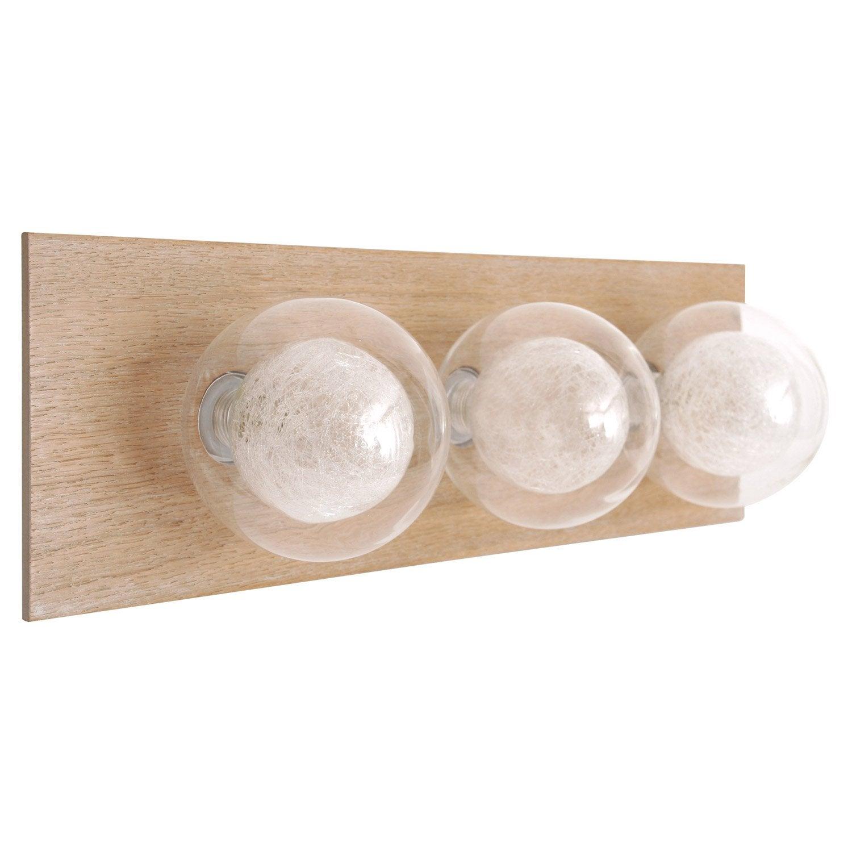 Lampe Bois Leroy Merlin : produits plafonnier a fixer venus halogene x w g bois clair e