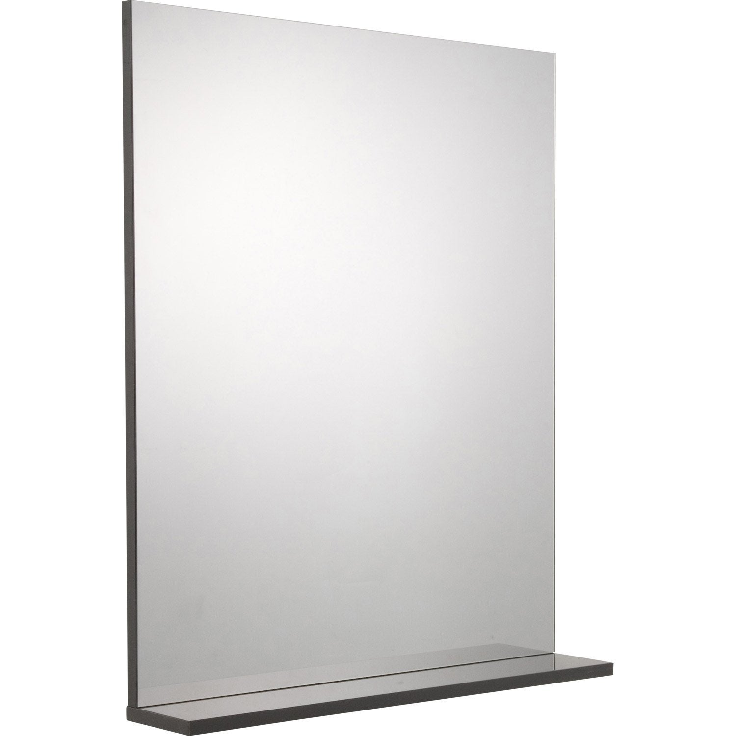 Miroir avec tablette gris l 60 0 cm opale leroy merlin for Miroir tablette