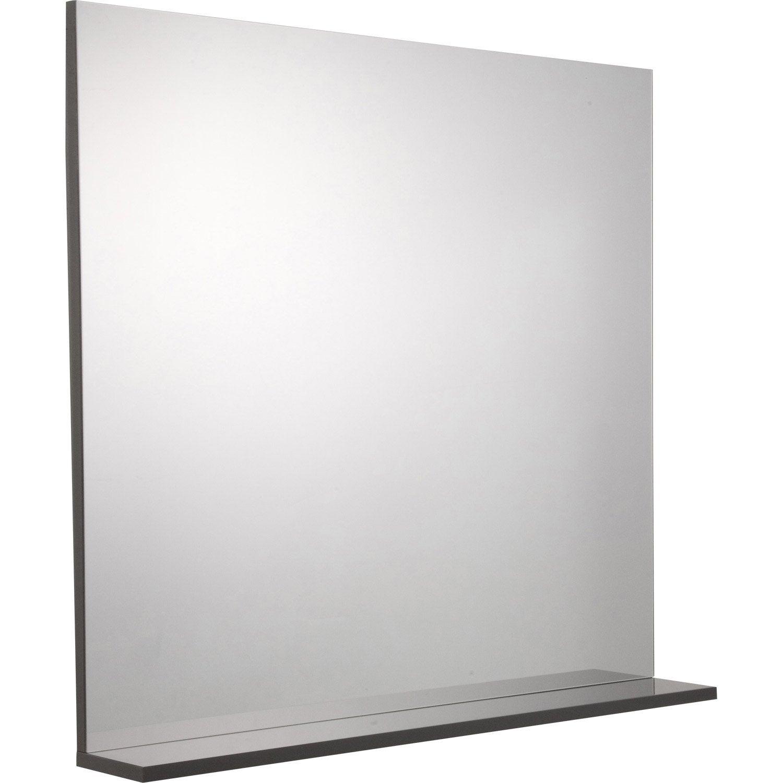 Miroir avec tablette gris, l. 80.0 cm Opale | Leroy Merlin