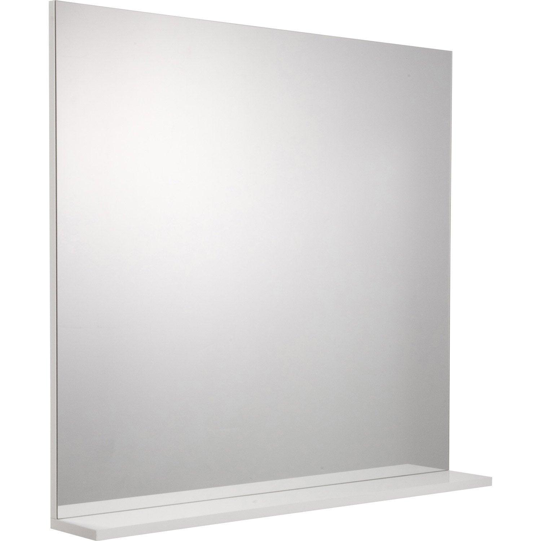 Miroir avec tablette opale blanc cm leroy for Miroir 60x60
