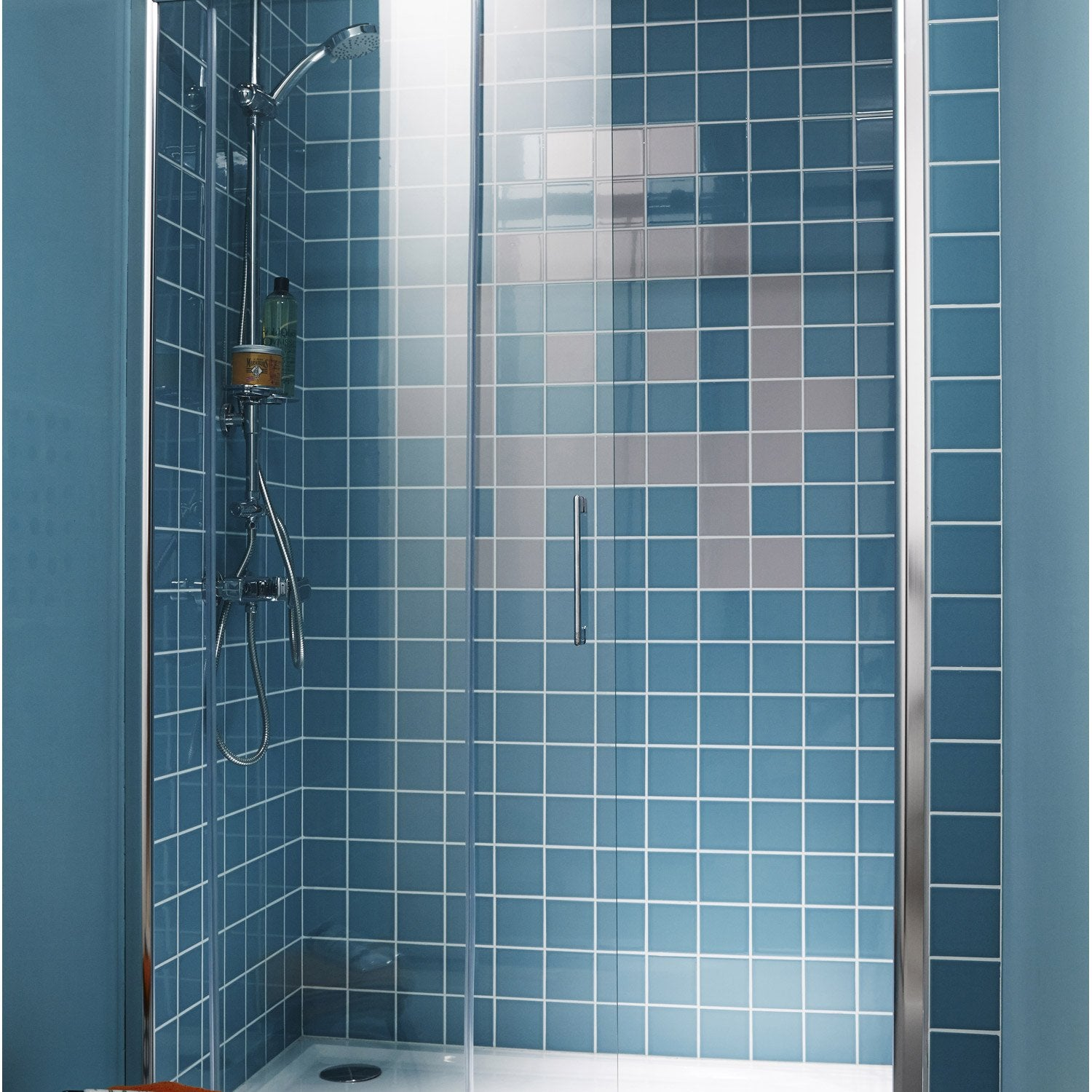 Porte de douche coulissante transparent remix2 leroy merlin - Porte de douche reglable ...