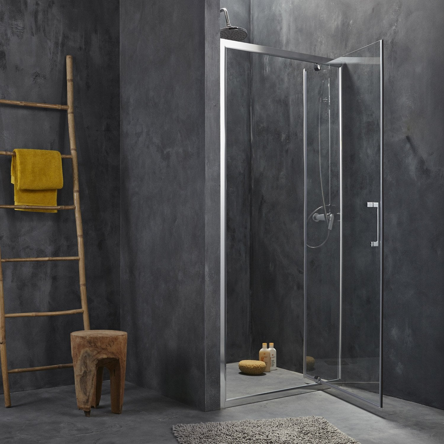 porte de douche pivotante 77 80 cm profil chrom remix2 leroy merlin. Black Bedroom Furniture Sets. Home Design Ideas