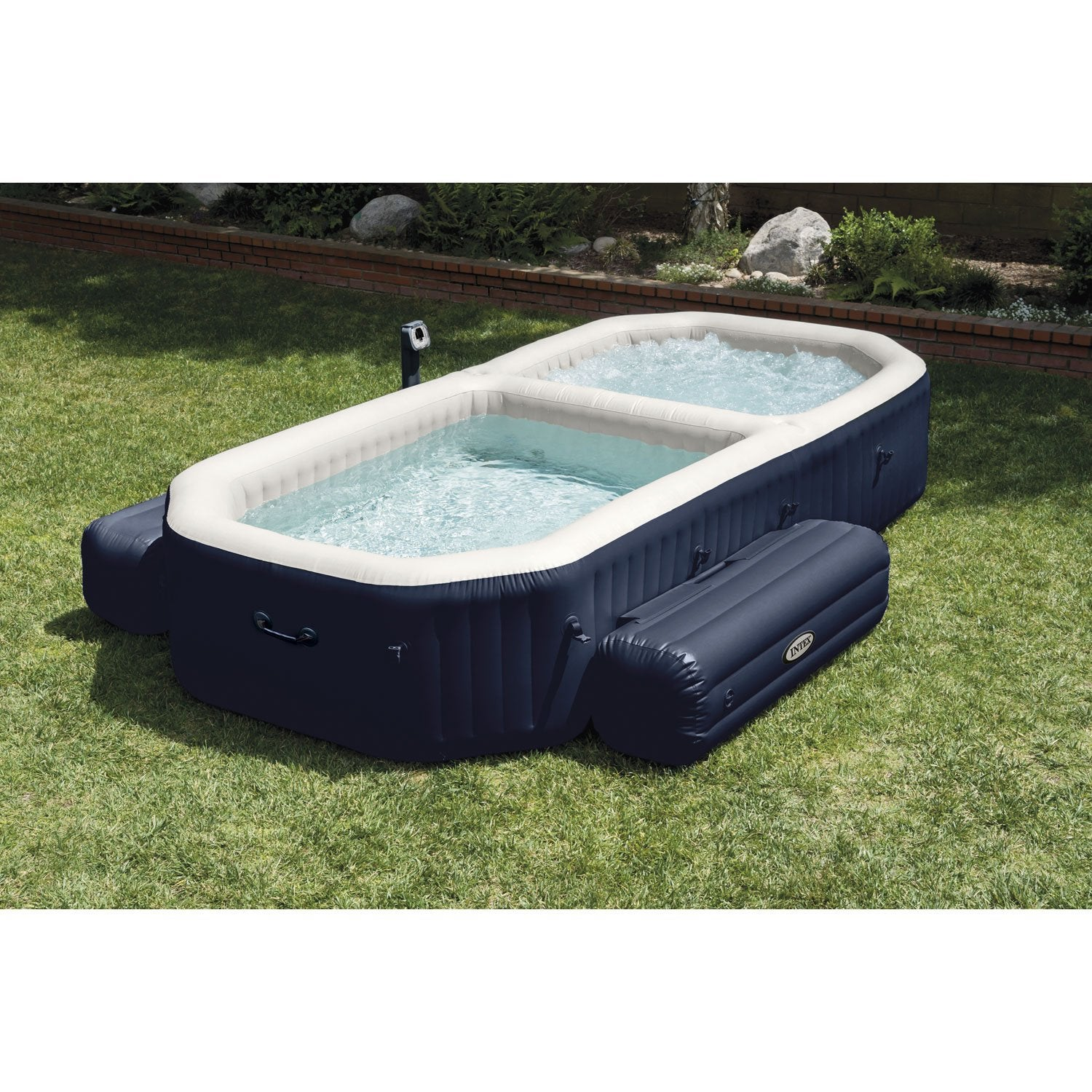 Spa piscine gonflable intex purespa bulles blue navy rectangle 4 places assis - Spa exterieur 4 places ...
