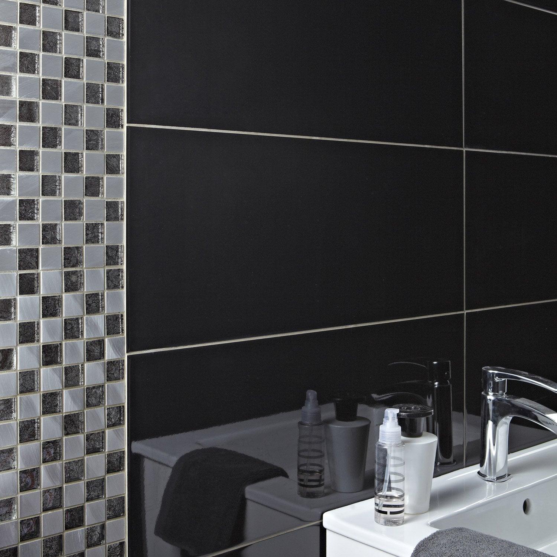 Mosa que mur glass select noir et alu naturel leroy merlin for Mosaique piscine leroy merlin