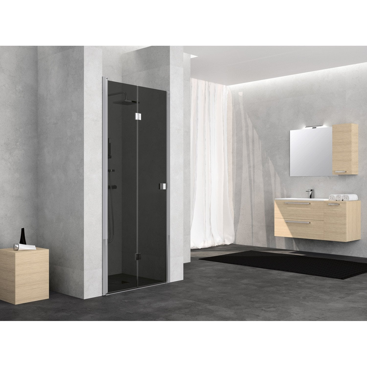 porte de douche pivot pliante 80 cm fum neo leroy merlin. Black Bedroom Furniture Sets. Home Design Ideas