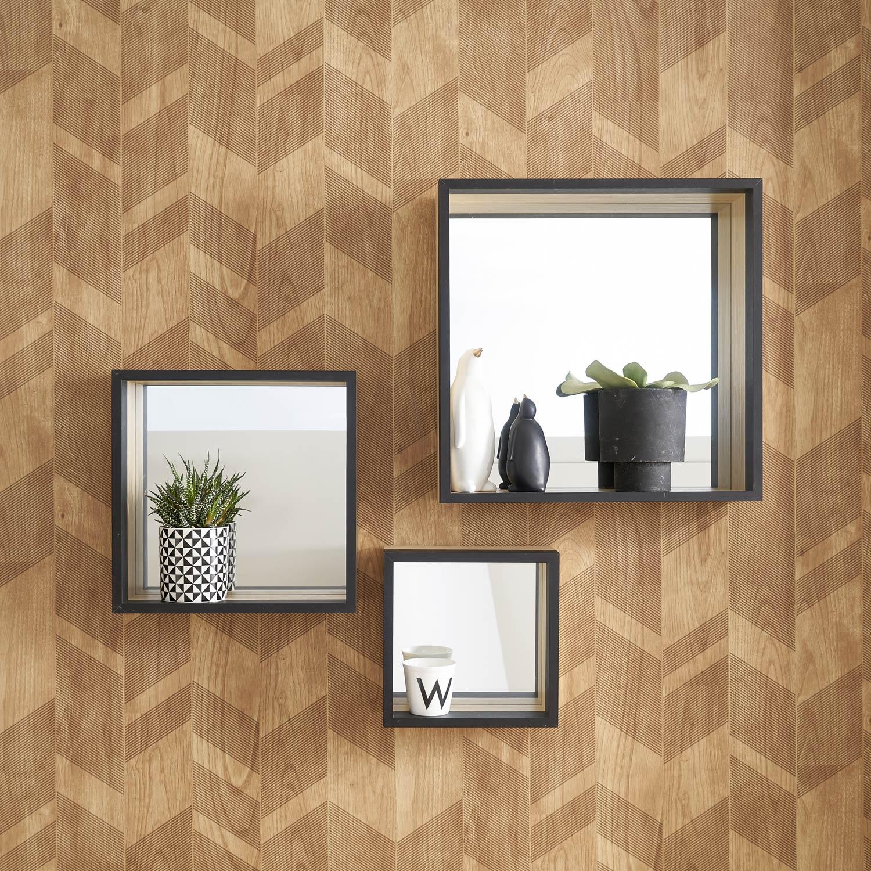 Assortiment de 3 miroirs hugo noir x cm for Fond miroir