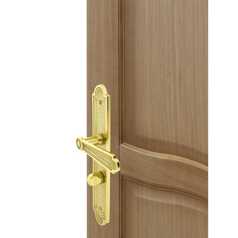 Poign e de porte r gence condamnation inspire laiton 195 mm leroy merlin - Poignee de porte laiton ...