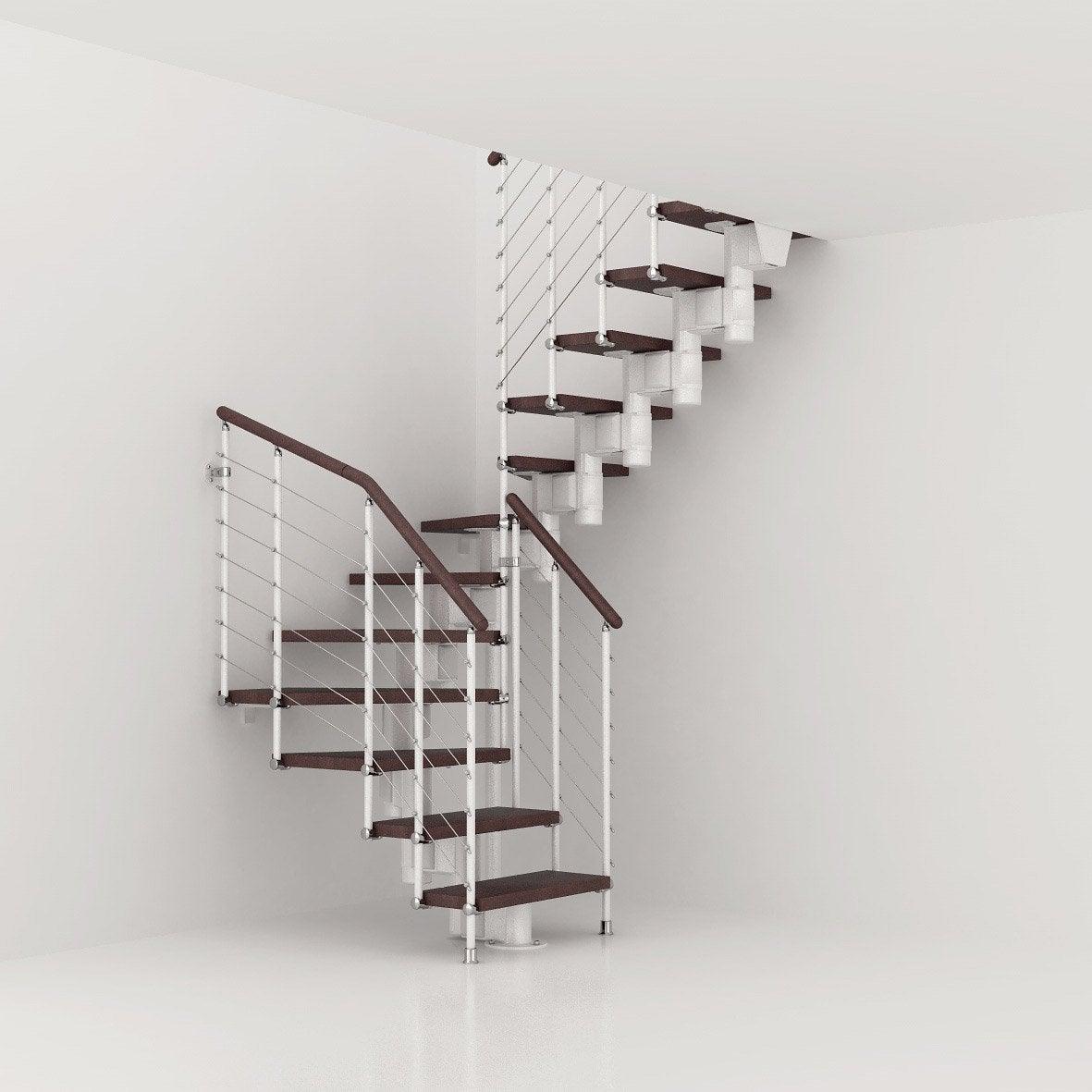 Escalier Bois Leroy Merlin : Longline, marches bois/ structure m?tal blanc Leroy Merlin