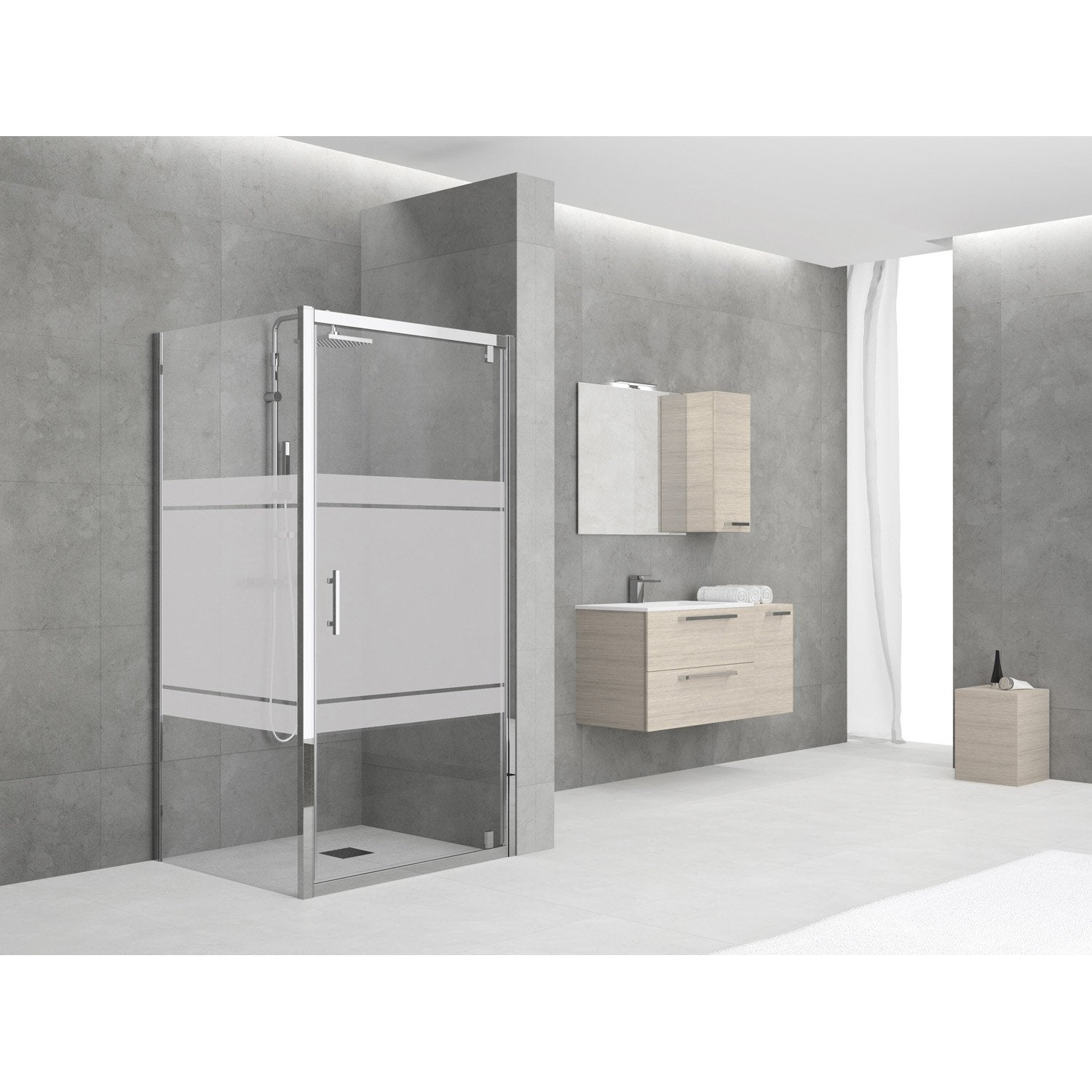 porte de douche pivotante 84 90 cm profil chrom elyt. Black Bedroom Furniture Sets. Home Design Ideas