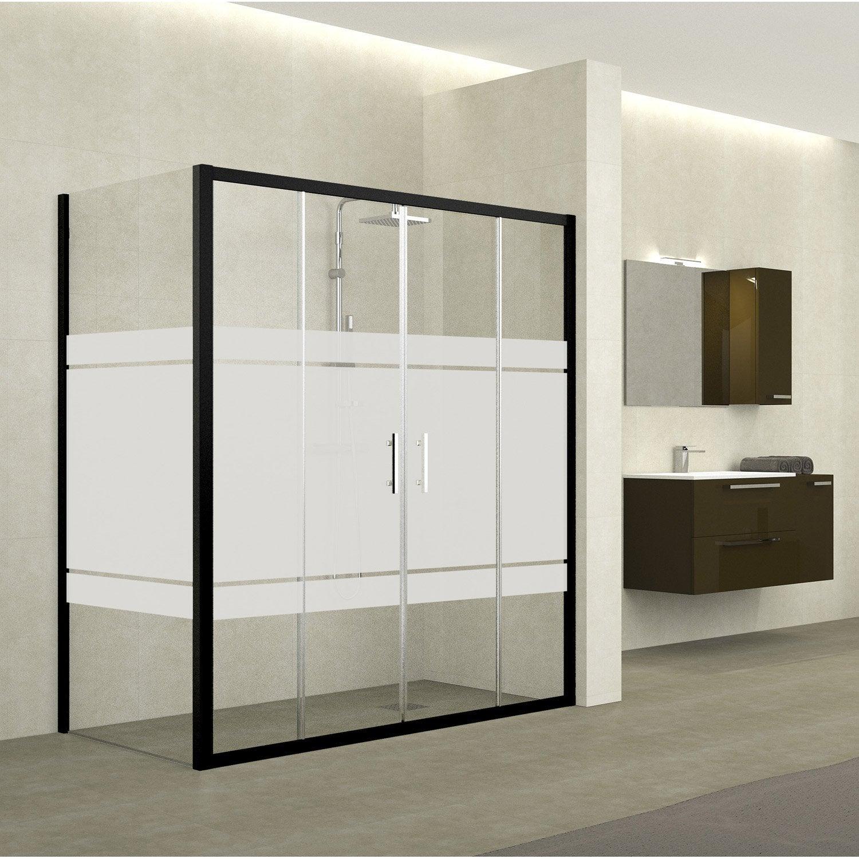 porte de douche coulissante 146 152 cm profil noir elyt 4 pnx leroy merlin. Black Bedroom Furniture Sets. Home Design Ideas
