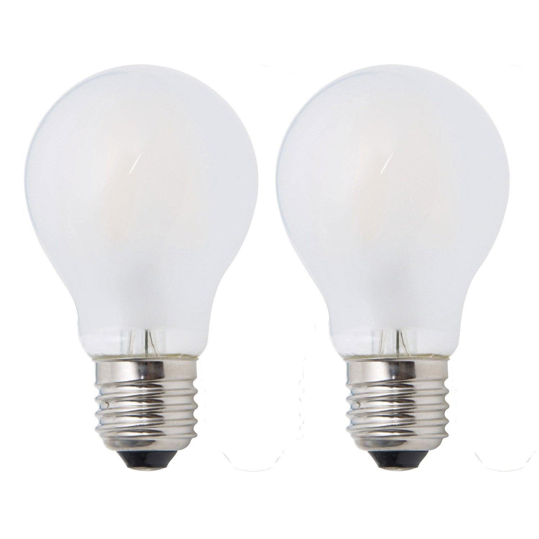 lot de 2 ampoules filament opaques 7 5w 806lm quiv 60w e27 4000k lexman leroy merlin. Black Bedroom Furniture Sets. Home Design Ideas
