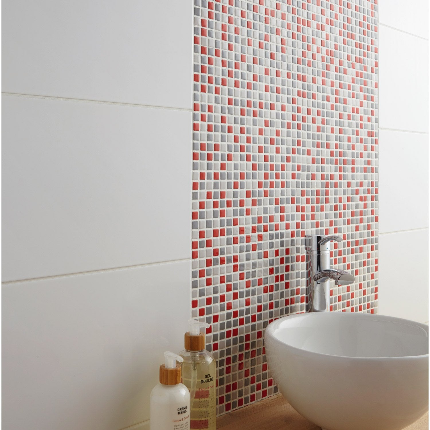 Mosa que mur pop gris et rouge leroy merlin for Carrelage mosaique leroy merlin