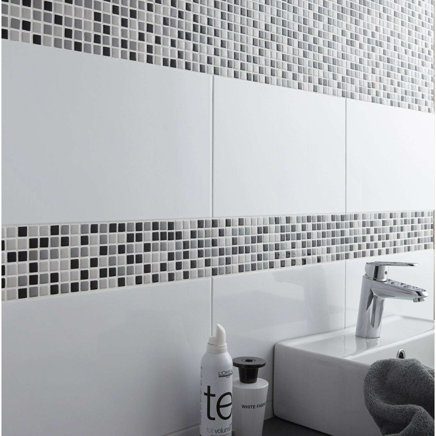 Mosa que mur pop gris leroy merlin for Leroy merlin carrelage metro blanc