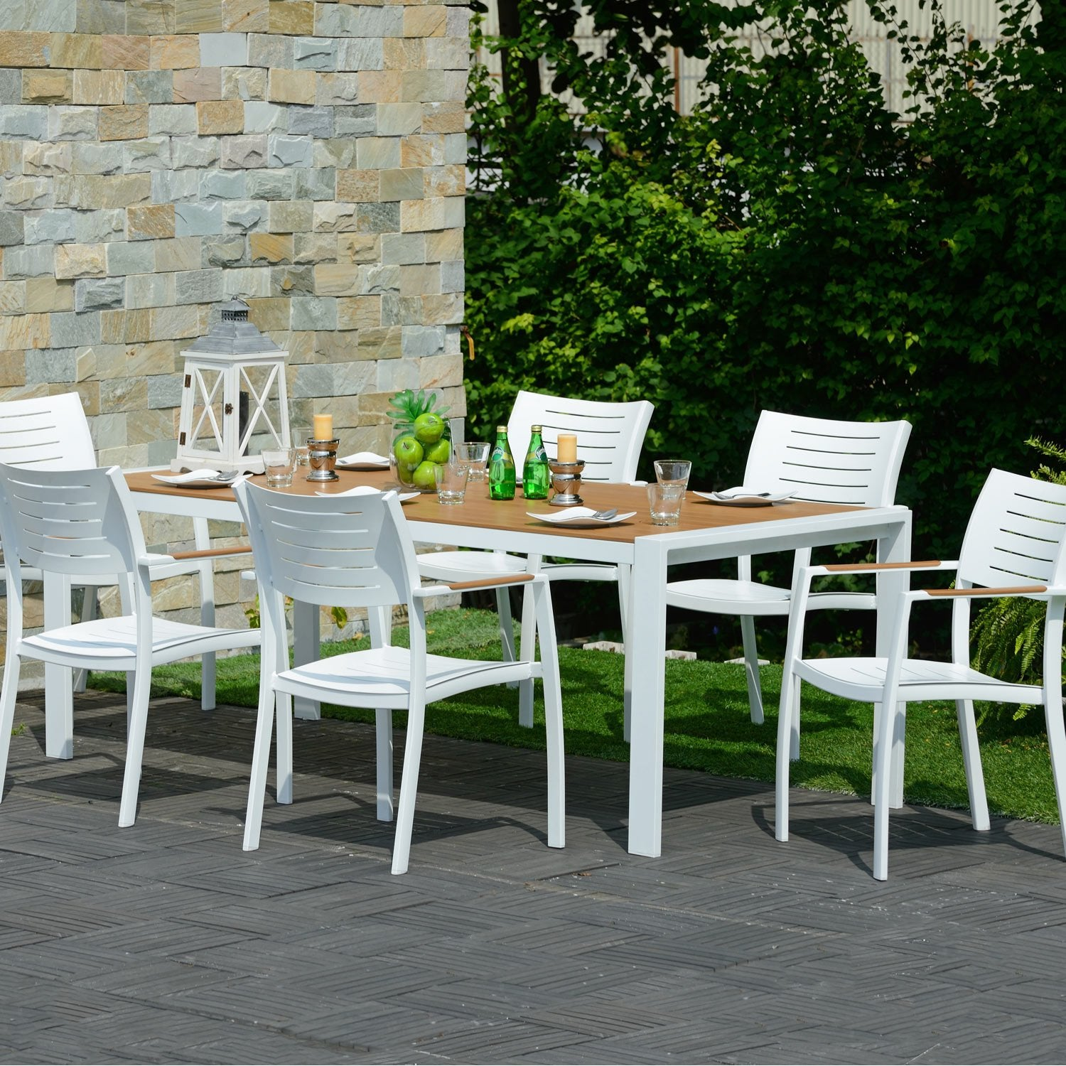 Salon de jardin port nelson brun marron 6 personnes - Salon de jardin leroy merlin grenoble ...