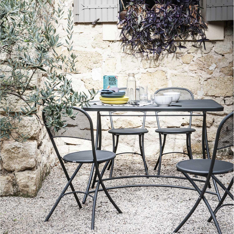 Salon de jardin voila emu gris anthracite leroy merlin for Salon de jardin fer forge leroy merlin