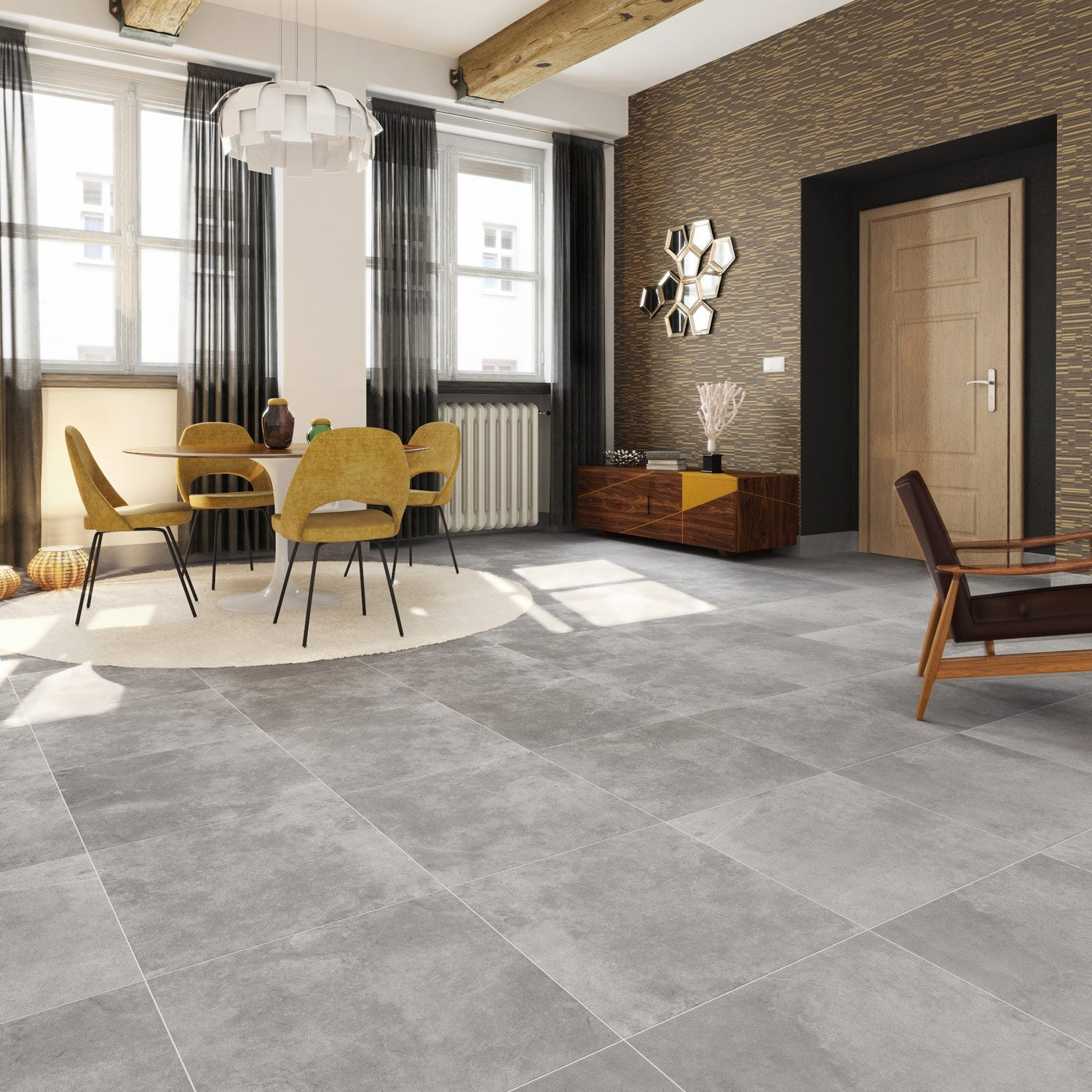 Carrelage sol et mur gris effet pierre atmosphere x l for Carrelage 70x70 gris