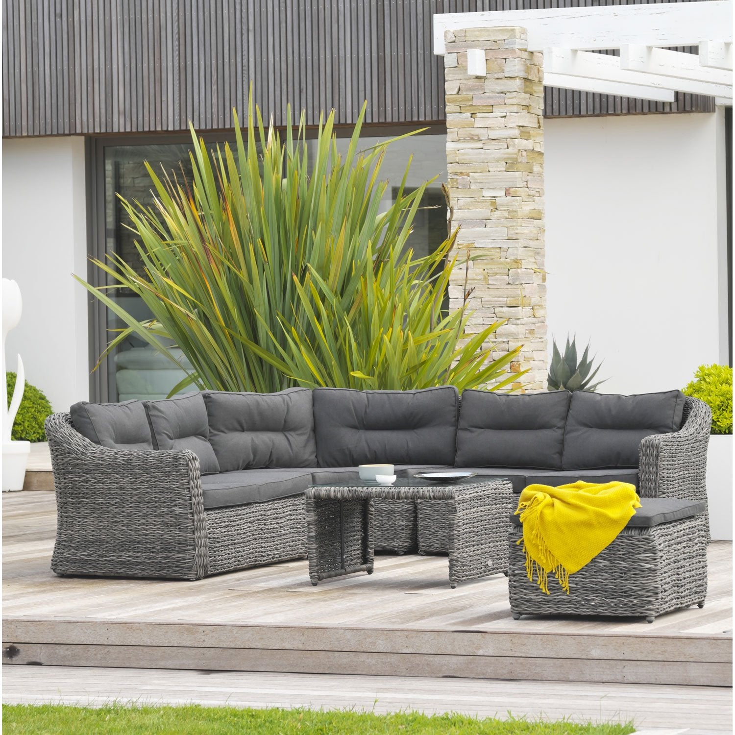 salon bas de jardin bahamas r sine tress e gris 6 personnes leroy merlin. Black Bedroom Furniture Sets. Home Design Ideas
