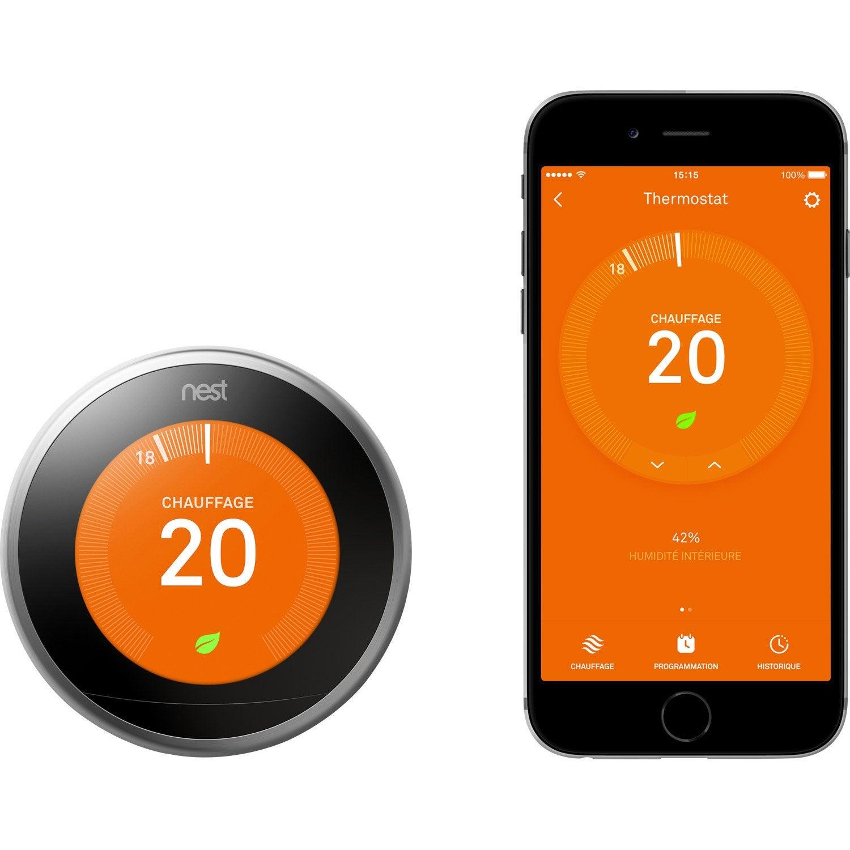 Thermostat connect et intelligent filaire nest learning thermostat 3 leroy merlin - Thermostat leroy merlin ...