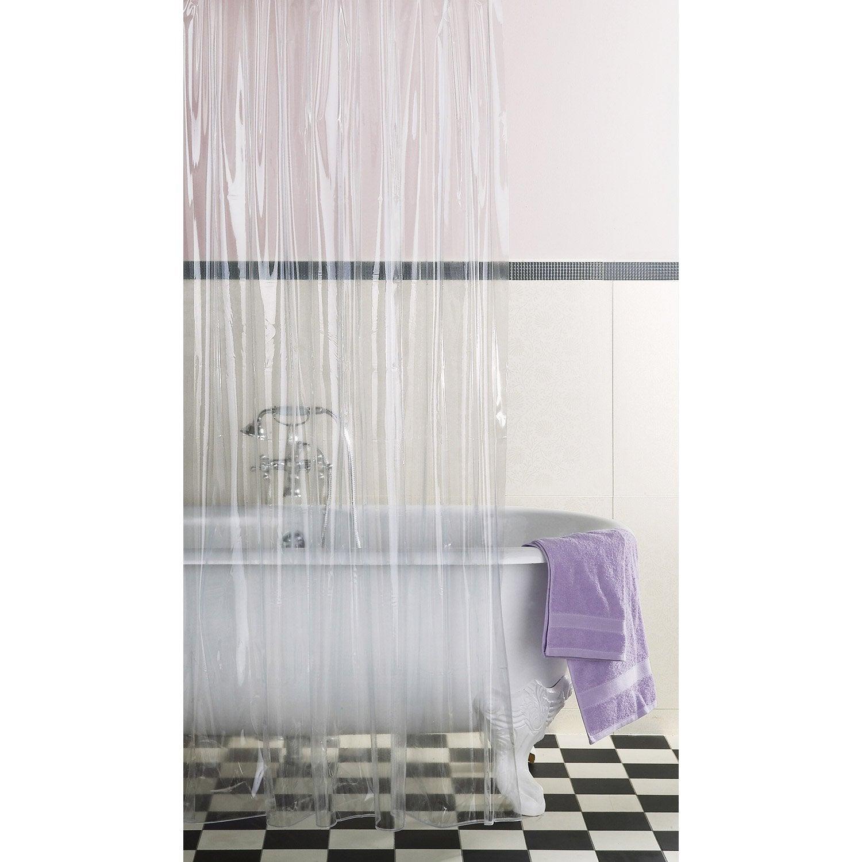 Rideau de douche en plastique transparent x cm for Rideau de douche colore
