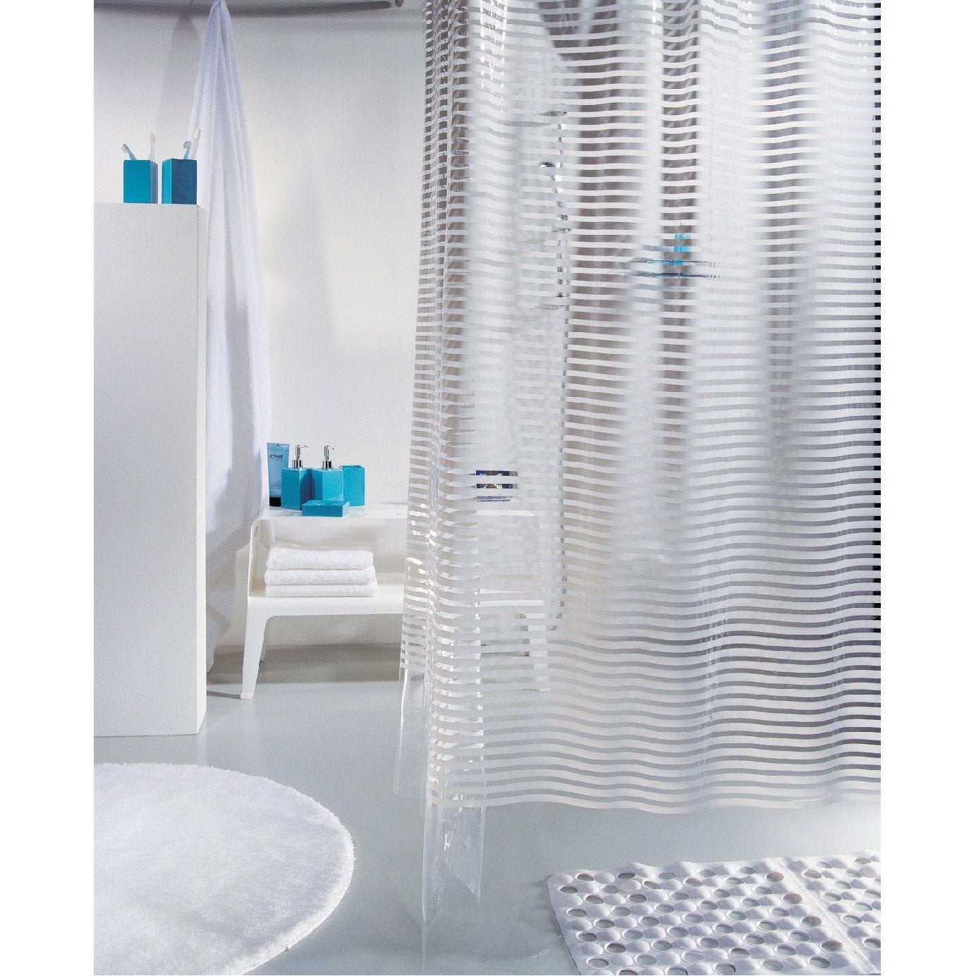Rideau de douche en plastique blanc x cm for Rideau meuble salle de bain