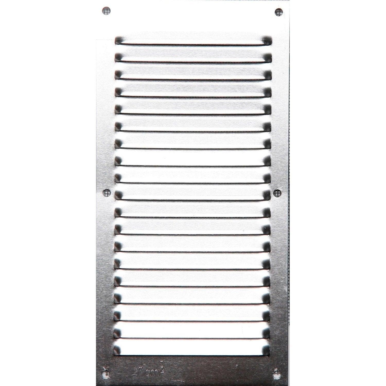 Grille d 39 a ration visser aluminium anodis 10x20cm - Aeration fenetre pvc leroy merlin ...