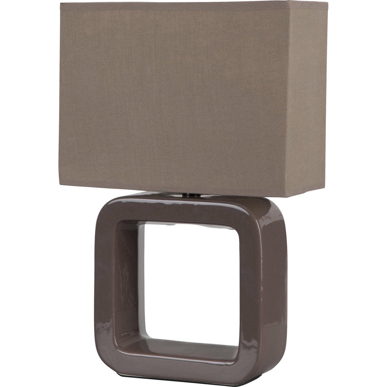 Lampe square corep coton sur pvc taupe 40w leroy merlin for Lampe de chevet chez leroy merlin