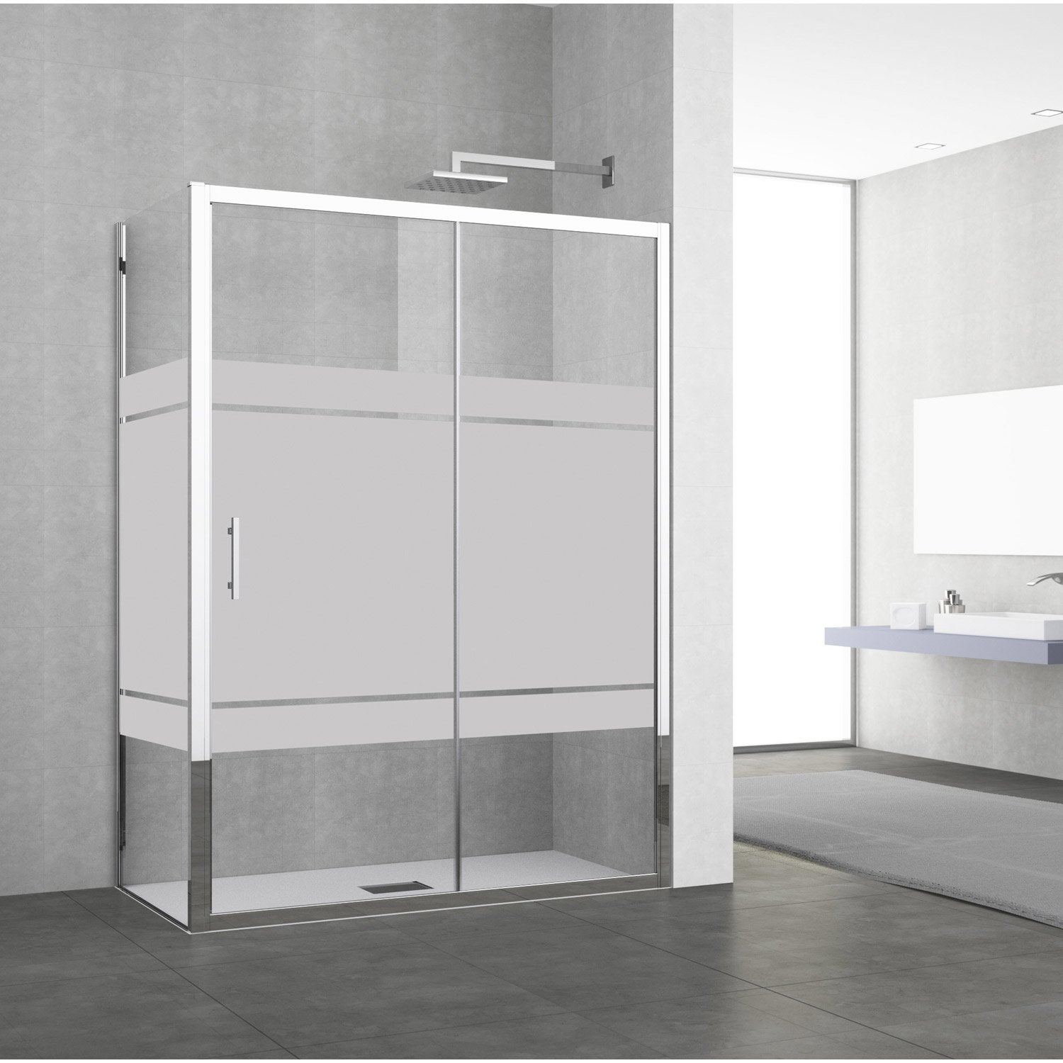 porte de douche coulissante 134 140 cm profil chrom elyt 2 pnx leroy merlin. Black Bedroom Furniture Sets. Home Design Ideas