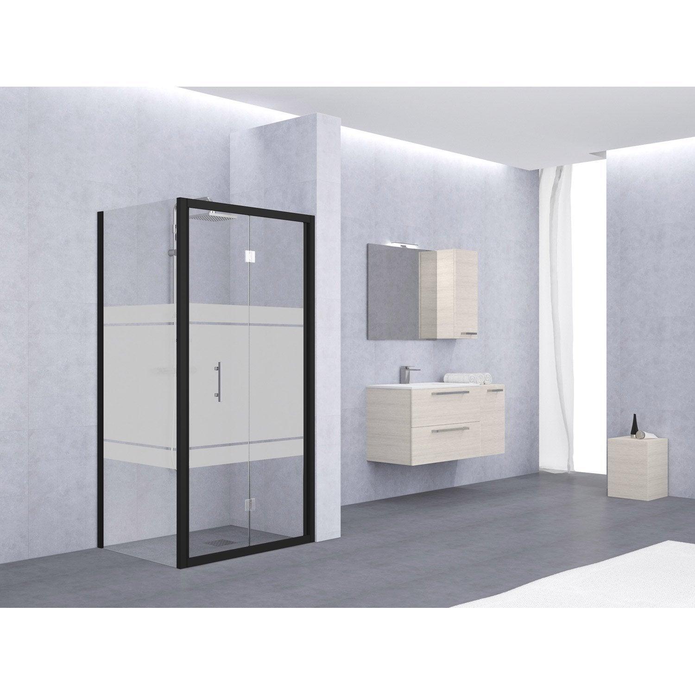 porte de douche pliante 66 72 cm profil noir elyt leroy merlin. Black Bedroom Furniture Sets. Home Design Ideas