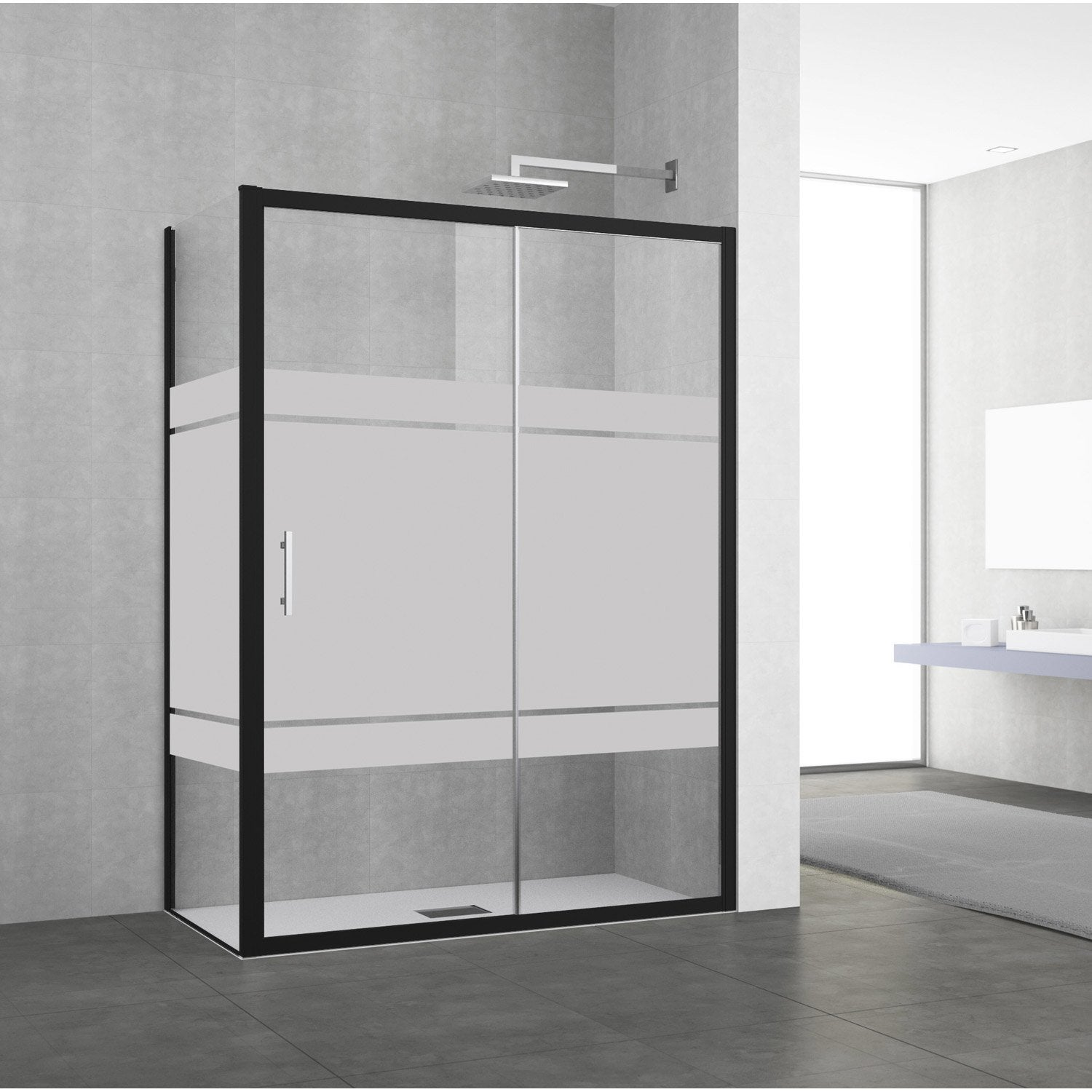 porte de douche coulissante 134 140 cm profil noir elyt. Black Bedroom Furniture Sets. Home Design Ideas