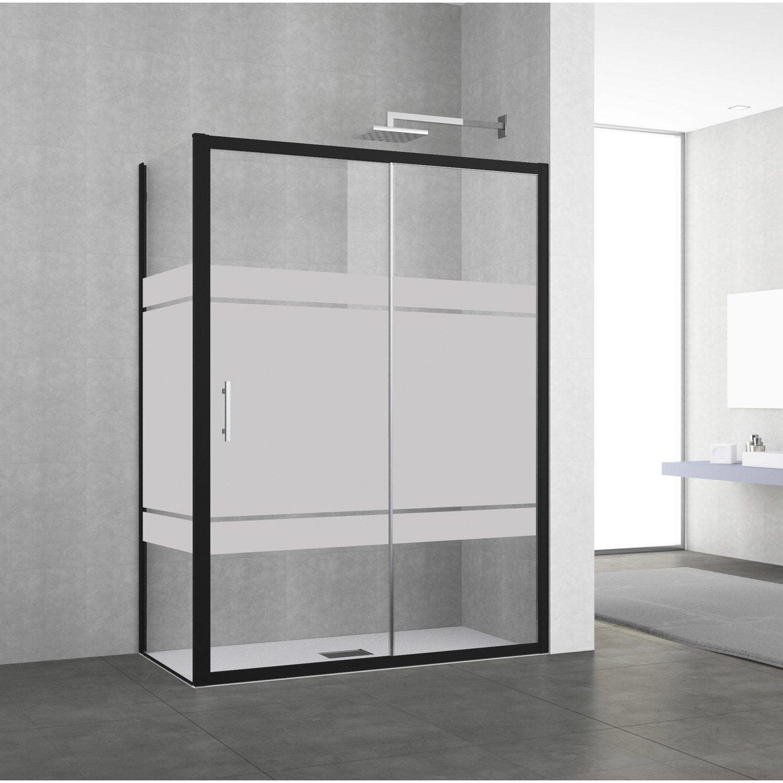 Porte de douche coulissante 116 122 cm profil noir elyt for Porte de douche ronal