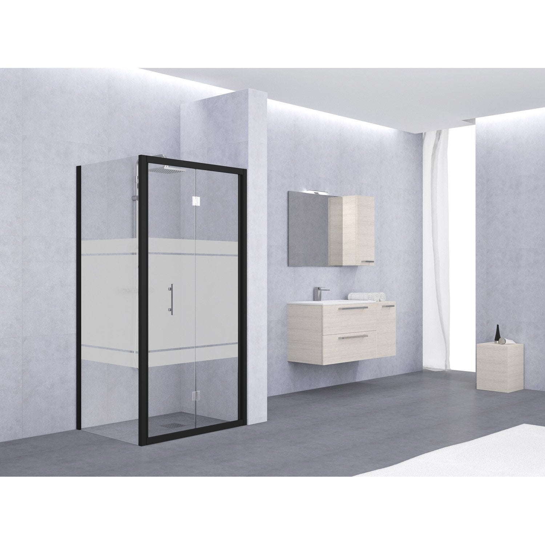 porte de douche pliante 78 84 cm profil noir elyt leroy merlin. Black Bedroom Furniture Sets. Home Design Ideas