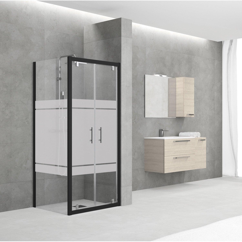 porte de douche battante 78 84 cm profil noir elyt leroy merlin. Black Bedroom Furniture Sets. Home Design Ideas