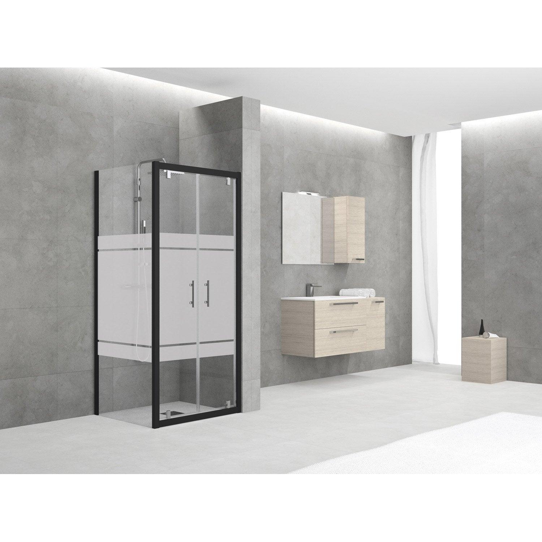 porte de douche battante 90 96 cm profil noir elyt leroy merlin. Black Bedroom Furniture Sets. Home Design Ideas