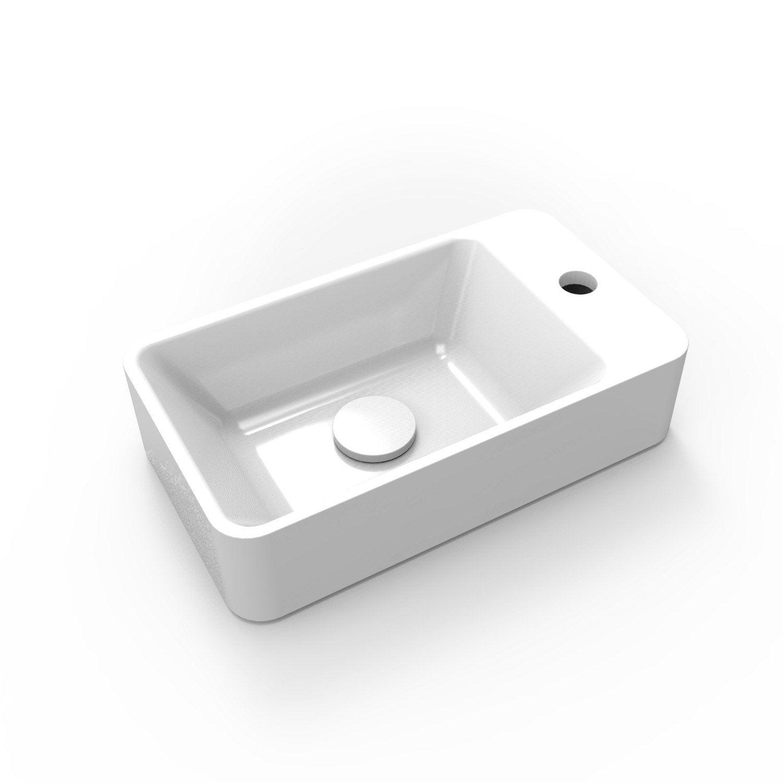 lave mains r sine rectangle blanc x cm smart leroy merlin. Black Bedroom Furniture Sets. Home Design Ideas