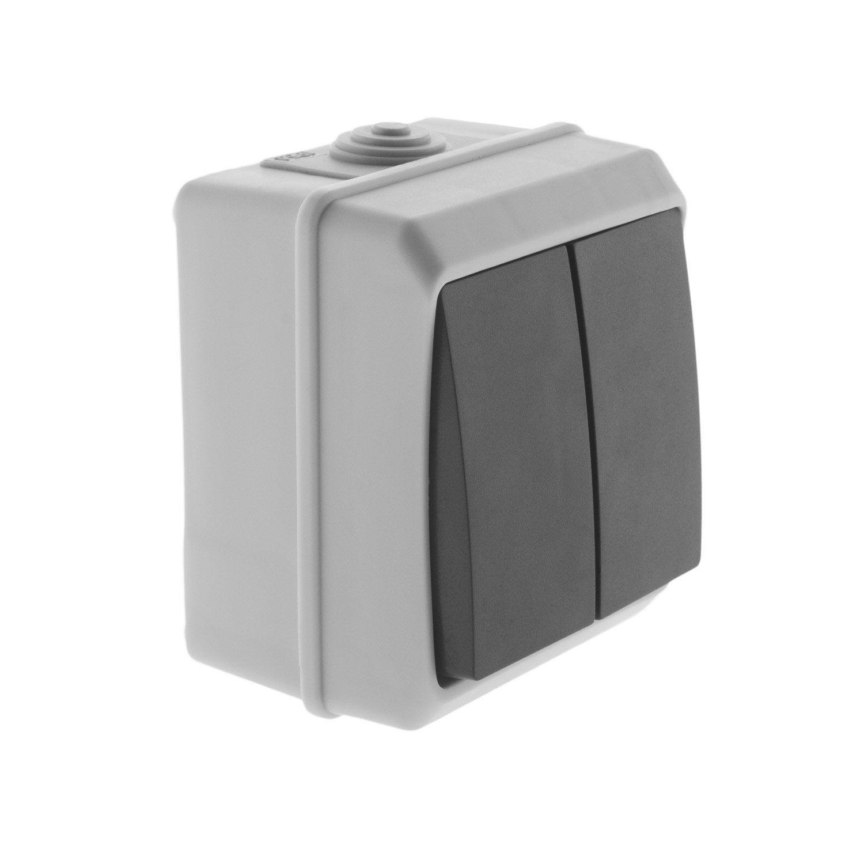 double interrupteur va et vient tanche beewell gris. Black Bedroom Furniture Sets. Home Design Ideas