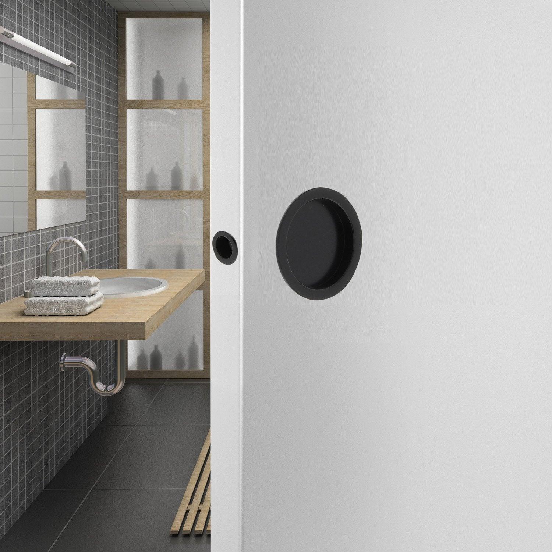 kit de poign es porte coulissante ronde zamak mat noir. Black Bedroom Furniture Sets. Home Design Ideas