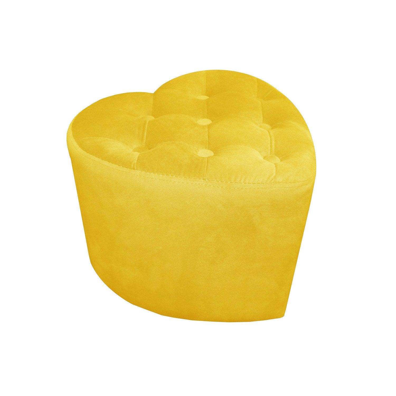 pouf c ur jaune x cm leroy merlin. Black Bedroom Furniture Sets. Home Design Ideas
