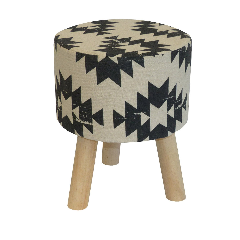 pouf ethnique beige et noir x cm leroy merlin. Black Bedroom Furniture Sets. Home Design Ideas