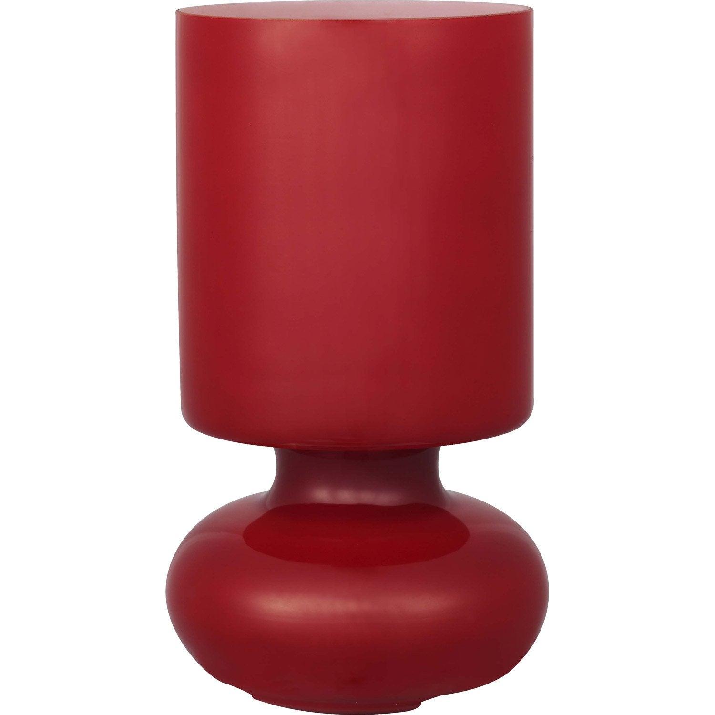 Lampe bogota inspire verre rouge 40 w leroy merlin for Verre pour lampe de chevet