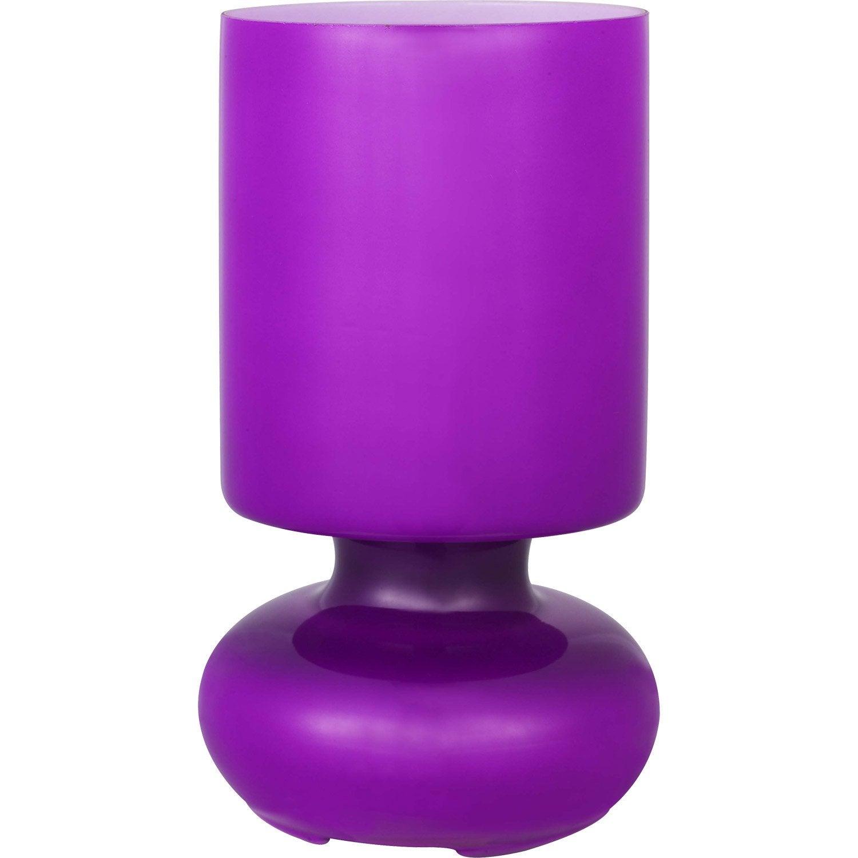Lampe poser bogota inspire verre violet 40 watts - Lampe a poser leroy merlin ...
